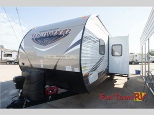 The spacious Forest River Wildwood travel trailer.