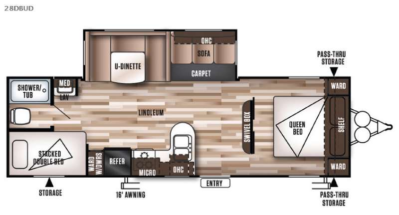 Forest River Wildwood 28DBUD Travel Trailer Floorplan