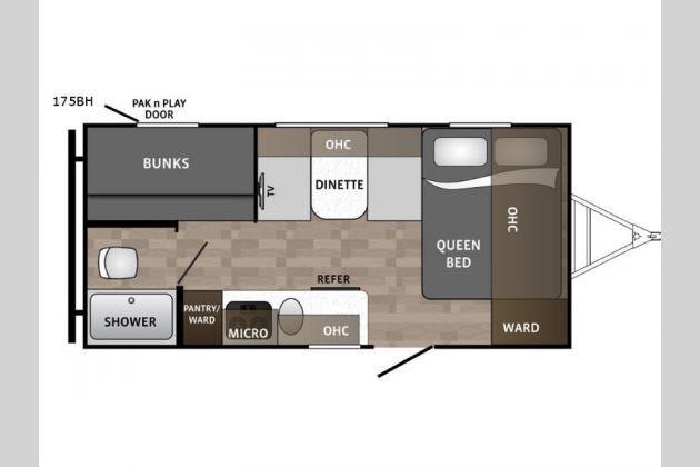 Dutchmen Kodiak Cub 175BH Bunkhouse Travel Trailer Floorplan